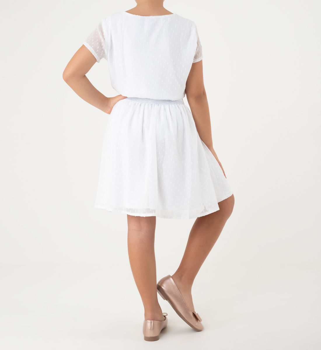Vestido Para Ninas Con Elastico Plata Yoyojeans
