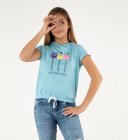Camiseta-Manga-Corta-Con-Capucha-31205114-Celeste_1